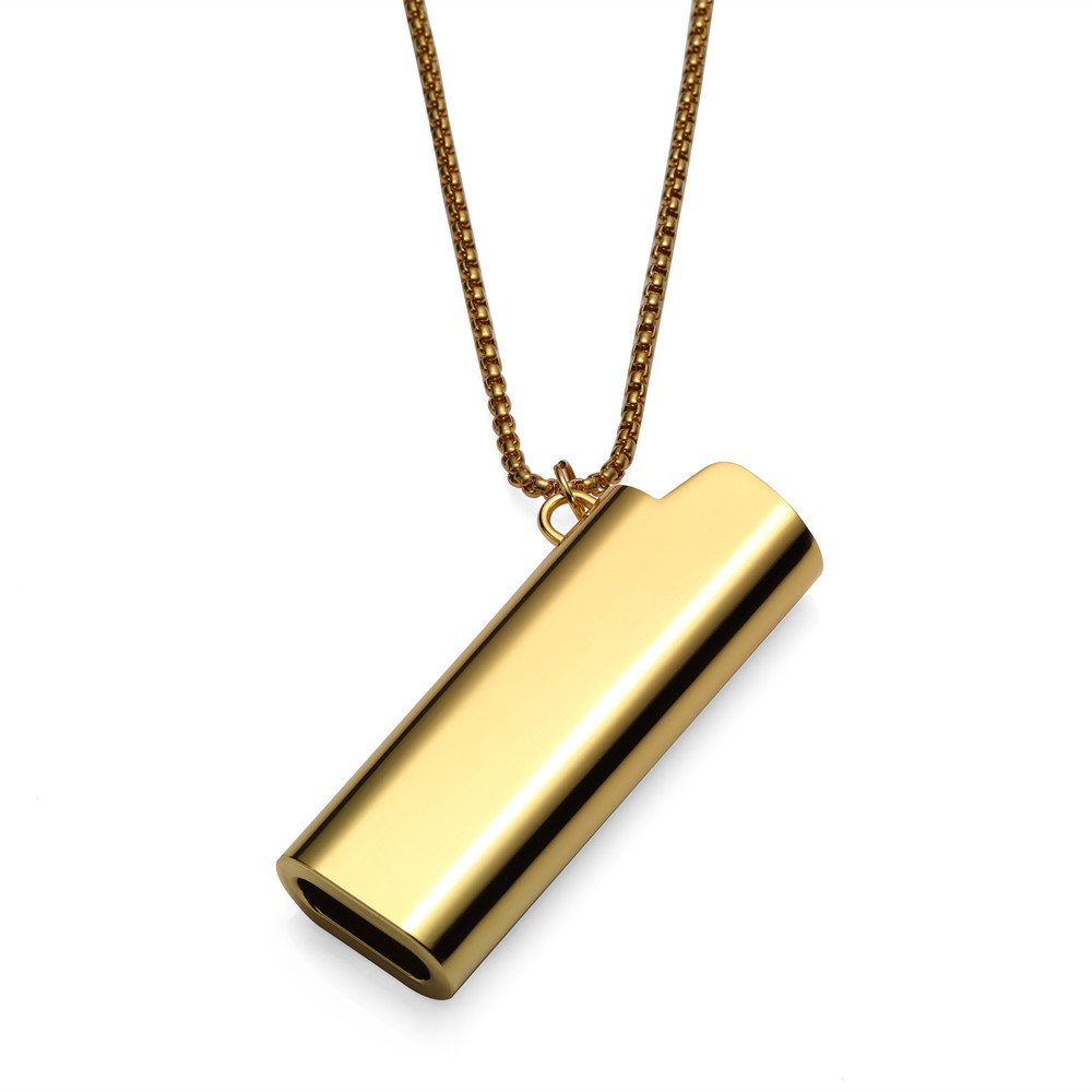 Hip hop lighter cover necklaces chokers men women golden bling hip hop lighter cover necklaces chokers men women golden bling stainless steel shell pendants chains christmas jewelry gifts in pendant necklaces from mozeypictures Choice Image