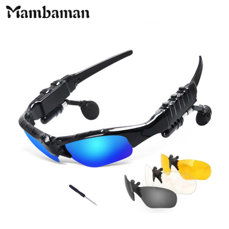 Mambaman Sunglasses Bluetooth Headset Outdoor Glasses Earbuds Music with Mic Stereo Wireless Headphone for iPhone Samsung xiaomi bluetooth earphone headphone for iphone samsung xiaomi fone de ouvido qkz qg8 bluetooth headset sport wireless hifi music stereo