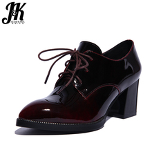 J&K 2017 Big Size 33-43 Brand Shoes Women Genuine Leather Lace up Pumps Pointed toe Patent Leather Thick Heeled Pumps Shoes