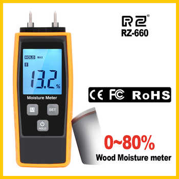 RZ Professional Wood Moisture humidity Meter Digital Tester 0%~80% Two Pins Large LCD Display with Back light Temperature RZ660 - DISCOUNT ITEM  16% OFF All Category