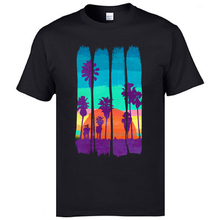Holiday Tshirts Scenery Vintage Brush Strokes Miami Beach Summer Sunset Printed T-Shirts Popular Cotton T Shirts Nice Tees