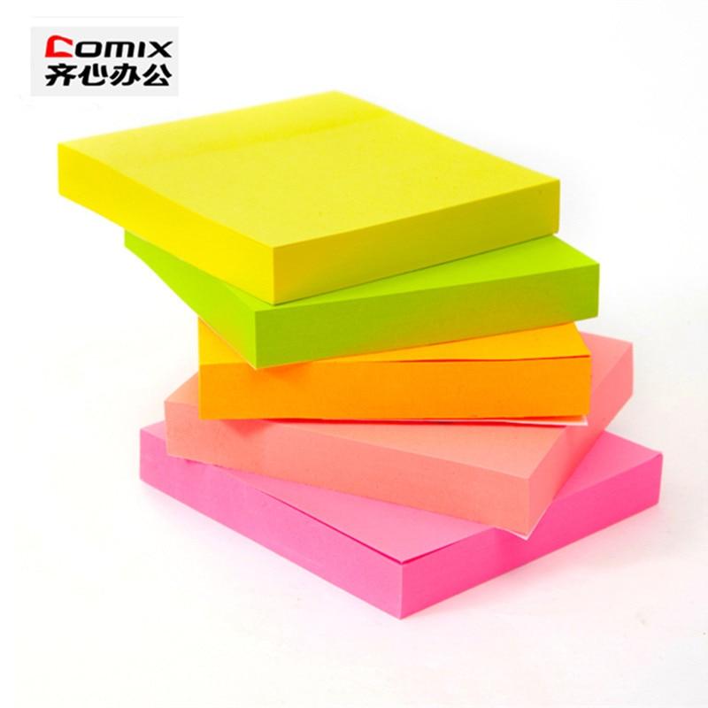 5 styck / pack Super söta Sticky notes, Högviskös fluorescerande plan, 500 ark klistermärke självhäftande memo pad