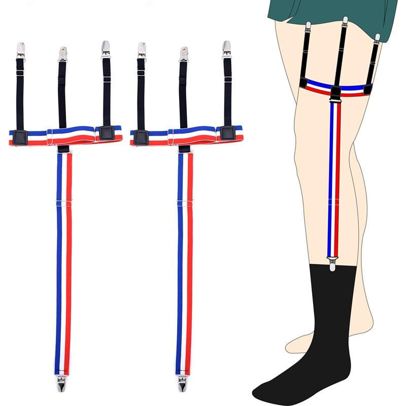 New Man's Garters Shirt Stays Skirt Holder Woman's Duck Clips Shirt Braces Elastic Uniform Strap Shirt Garters Blue Striped