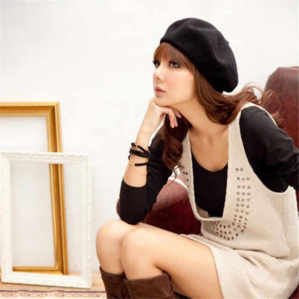 2019 neue Frauen Vintage Solide Beanie Kappe Warme Wolle Winter Baskenmütze Für Weibliche Französisch Artist Beanie Hut Ski Beiläufige Kappe hut Headwear