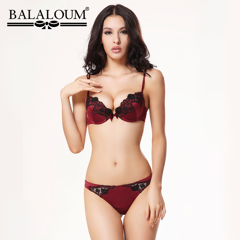 BALALOUM Sexy Women Floral Lace Vintage Polka Dot   Bra   Panty   Sets   Brassiere Push Up Underwear Lingerie   Set   Seamless T Back Thongs