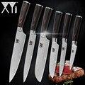 XYj Дамасские кухонные ножи, ножи из нержавеющей стали, цветные деревянные ножи с ручкой для очистки овощей, сантоку, нож для нарезки шеф-пова...