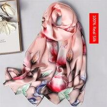 купить 100% real silk scarf women Flower and bird pattern shawls wrap ladies long soft pashmina high quality foulard femme winter scarf дешево