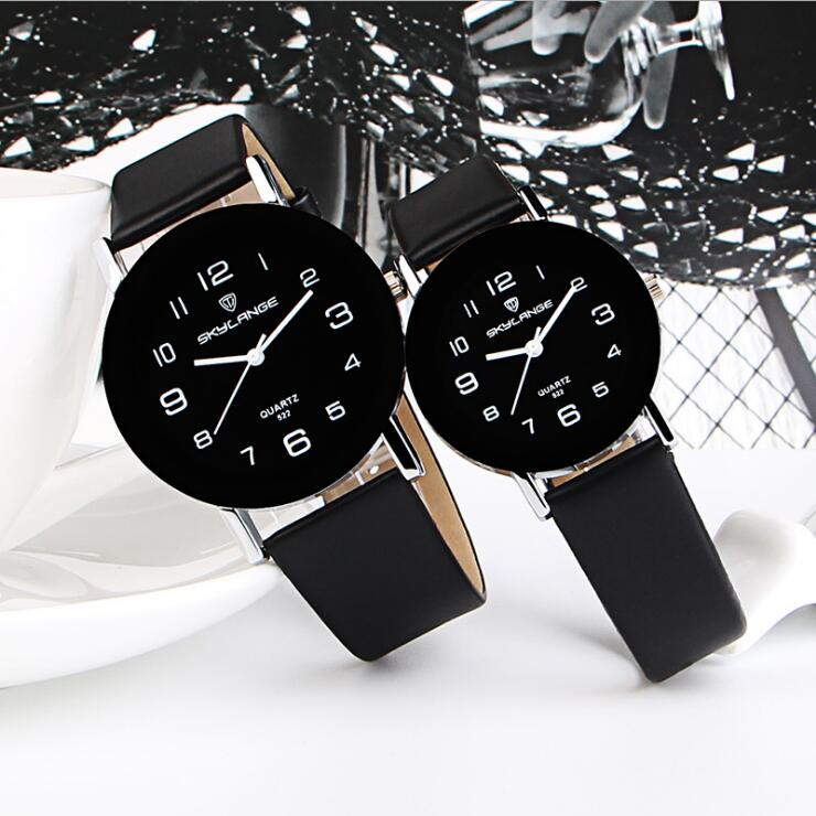wholesale fashion mens women lovers couple simple numbers dial leather watch 2019 new design unisex ladies