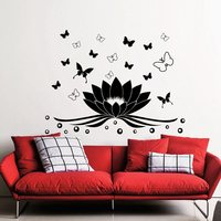 DCTAL Yoga Club Sticke Lotus Butterfly Decal Posters Yug Vinyl Wall Decals Pegatina Decor Mural Yoga Sticker