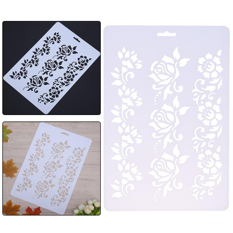 Flower Pattern DIY Scrapbooking Layering Stencils Painting Card Plastic Pochoir Mural Hollow Stationery Crafts Drawing Templates