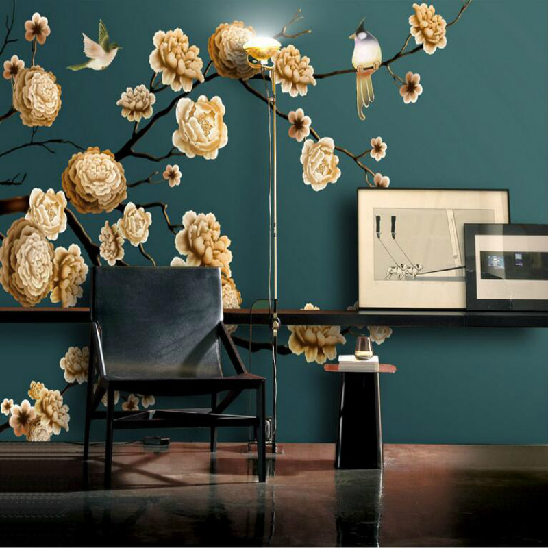 Home Improvement 3D Wallpaper for Walls 3d Decorative Vinyl Wall Paper Background Mural Wallpapers Hand-painted flowers and bird damask wallpaper for walls 3d wall paper mural wallpapers silk for living room bedroom home improvement decorative