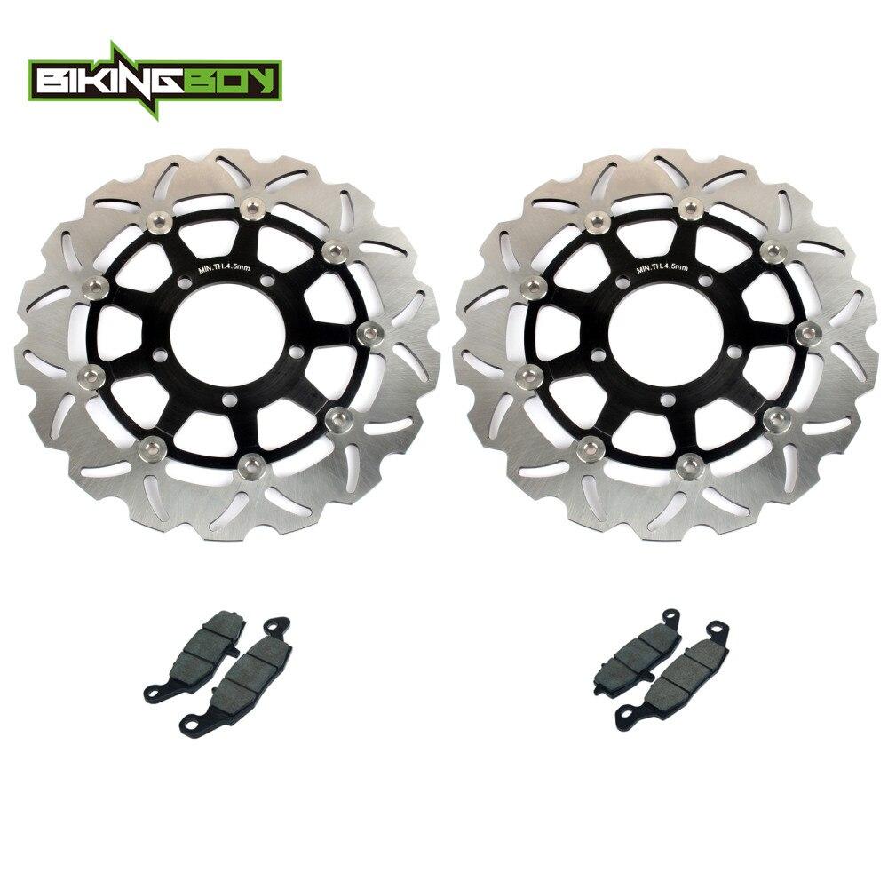 BIKINGBOY Front Brake Discs Rotors Disks Pads ER6 F ER 6F ER6F NINJA 650R ER6 N