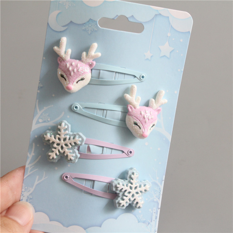 4PCS Cute Snowflake Deer BB Clips Kids Hairpins Baby Hair Clips Headdress Girls Hair Accessories Children   Headwear