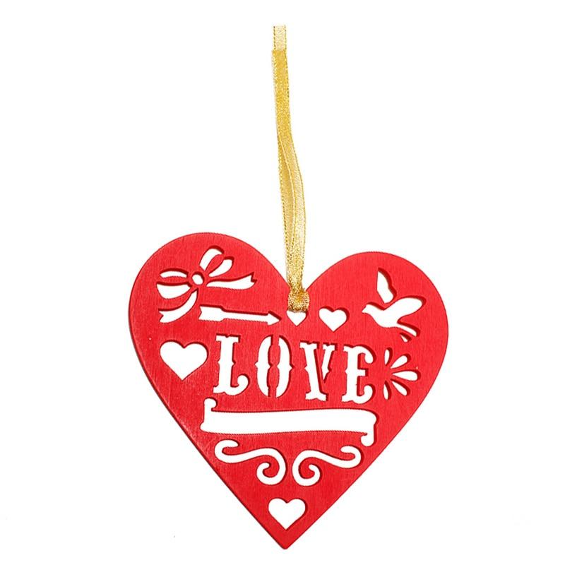 1 шт. Деревянный Красное сердце любовь формы ломтики тег выдалбливают DIY Craft интимные аксессуары День Святого Валентина дома Свадебная вечер...