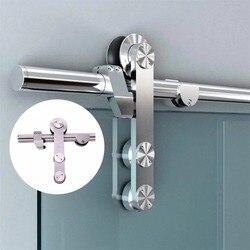 Rvs frameloze glazen schuifdeuren schuur deur hardware voor douche schuifdeur