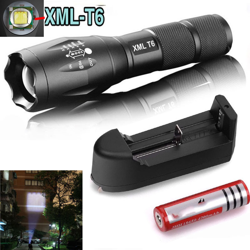 Zoomable CREE XM-L T6 2200Lumens cree led Torch cree LED Flashlight Torch light 3 mode +Charger +18650 Rechargeable Battery