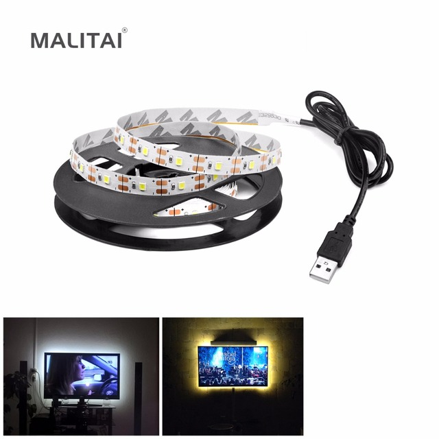 1Pcs 50CM 1M 2M 3M 4M 5M USB Powered 5V LED Strip light String Ribbon 3528 SMD Decorative lamp tape For TV Background lighting