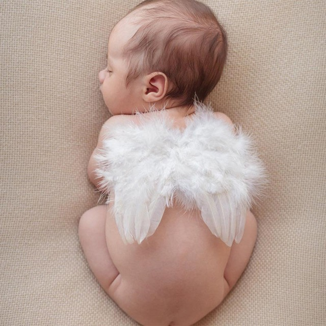 Feather Angel Wings Hair Accessories 0-12 Month Baby Headbands Infant Headband Baby Girl Hairbands White Feather Angel Wings Set