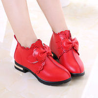 ילדה קוריאנית עור shoes הולו bow נסיכת בית ספר תינוק ילדי בנות ורוד אדום שחור עקב גבוה shoes shoes tx43