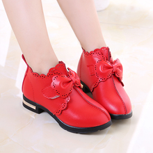 Korean Girl Leather Shoes School Hollow Bow Princess Baby Shoes Pink Red Black Children Girls High Heel Shoes TX43