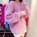 2015 jerseys grueso de punto flojo ladies cuello redondo cuello alto suéter capa engrosada dolman manga nueva promoción de la llegada venta