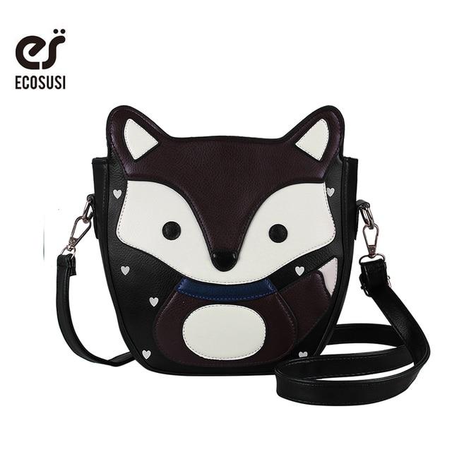 ECOSUSI New Lovely Cartoon Fox Women Messenger Bags Top Quality Sweet Women PU Leather Handbags Campus Trendy Women Bag