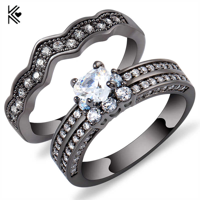 2 Pcs Ring Set Heart Style White Zircon Stone Rings For Women Men Black Gold Filled Jewelry Wedding Party Promise Ring Trinkets
