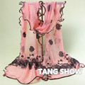 Elegant Pink Flower Muffler Pashmina Wrap Female Long Chiffon Scarf Lace Voile Soft Scarves Shawls For Women 180*43 cm NP111