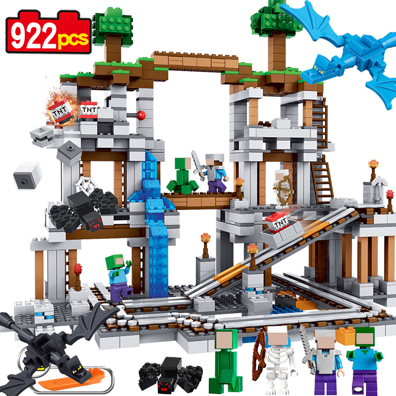 The Mine 922pcs MY WORLD Model Building Blocks Set Brick Action Figure Toys Chirstmas Gift Gift For Children lepin brinquedos loz mini diamond block world famous architecture financial center swfc shangha china city nanoblock model brick educational toys