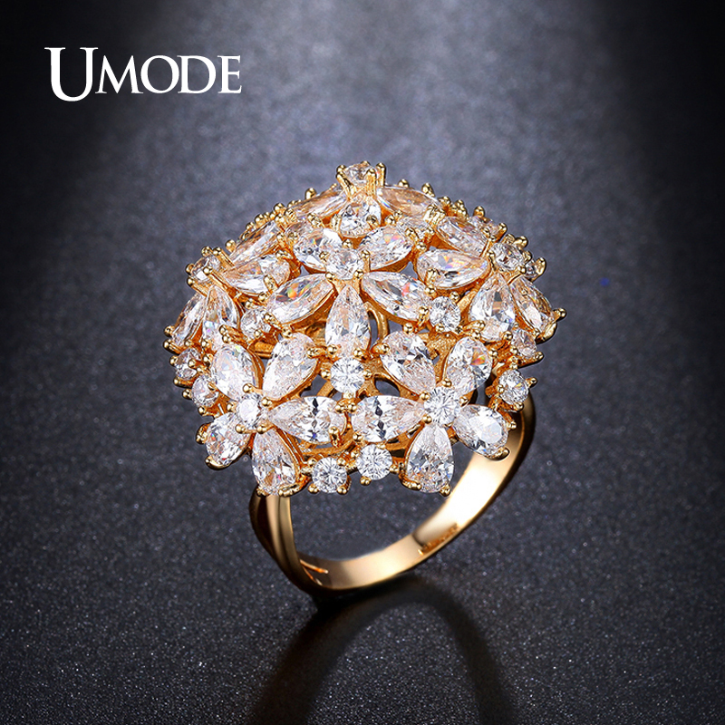 все цены на UMODE New Arrival 4.5mmX3mm Pear Cut Cluster Simulated CZ Stone Rings Gold Color Jewelry for Women Bague Anillos UR0282A