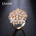 Umode nova chegada 4.5mm x 3mm pear cut simulado anéis de diamante banhado a ouro jóias conjunto para as mulheres bague anillos ur0282a