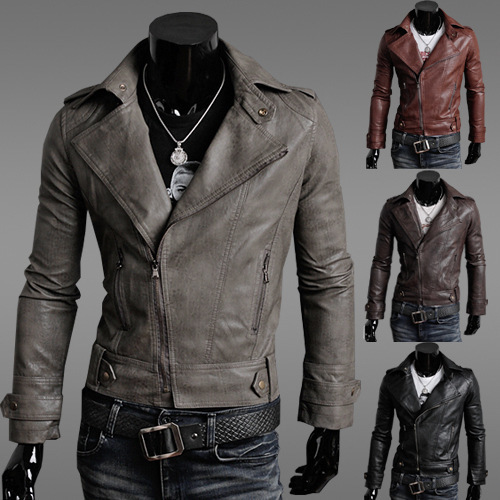 England autumn and winter men's large size men's oblique zipper motorcycle leather jacket leather jacket YF142