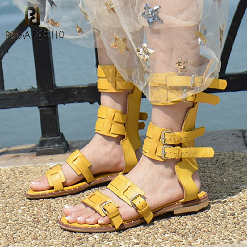 Prova Perfetto Summer New Style Narrow Band Women Shoe Fashion Hollow Out Word Buckle Flat Sandal