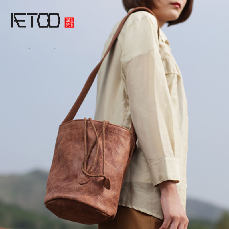 c14209525512 AETOO Draw soft leather bucket bag casual handmade wide shoulder strap  female retro art