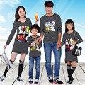 Полосатый семья одежда мать и дочь платья отец и сын майка одежда семья стиль семья мультфильм комплект одежду, Lb37