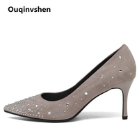 Ouqinvshen Crystal Women High Heels 2018 Black Pointed Toe Spring Fashion Concise Office Manual Woman Pumps
