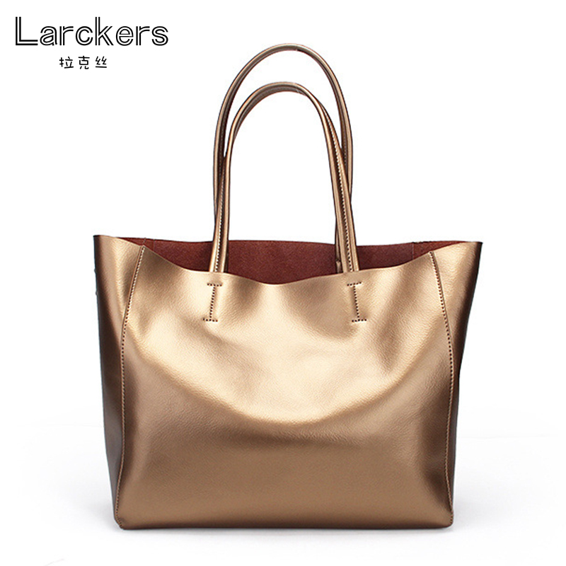 Здесь продается  Fashion women handbag split leather composite shoulder bag golden metal colors glazed shining ladies tote bag   Камера и Сумки
