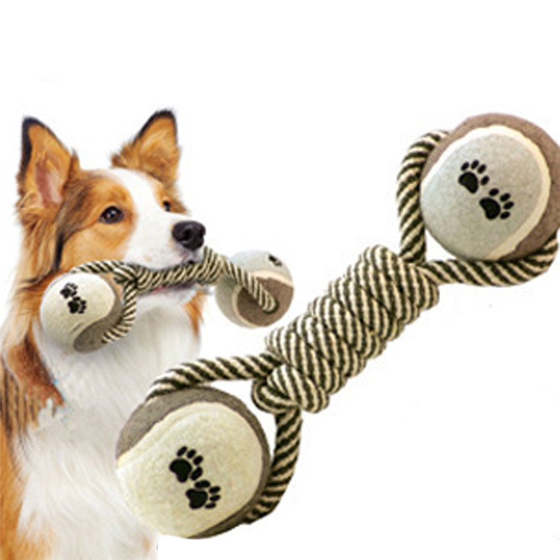 Dog Toys For Small Large Dogs 1 PC Pet Toys Cotton Rope Tennis Balls Training Pet Molar Chew Toys Dog Supplies Wholesale noDC21
