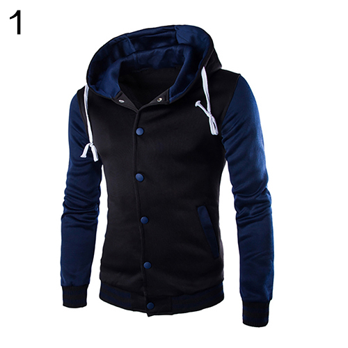 Mens Autumn s Casual Classic Striped Hooded Baseball Jacket Coat Outwear