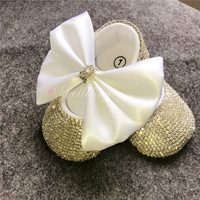 Amazing Keepsake Sequins Chain crystal Handmade brand baby princess shoes all cover rhinstones 1st birthday bling shoes