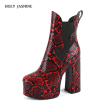 2019 New Sexy Ultra High Heels Shoes Woman Female Round Toe Martin Boots Thick Heel Platform Serpentine Women Shoes Ankle Boots цены