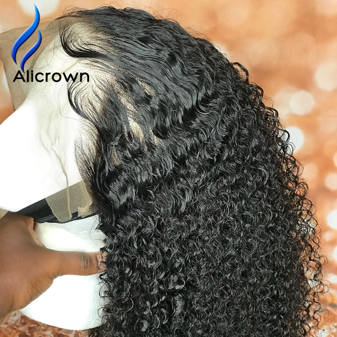 ALICROWN Curly 13*4 Lace Front Human Hair Wigs Brazilian Remy Hair With Baby Hair Knots Bleached  Pre Plucked Natural Hairline(China)
