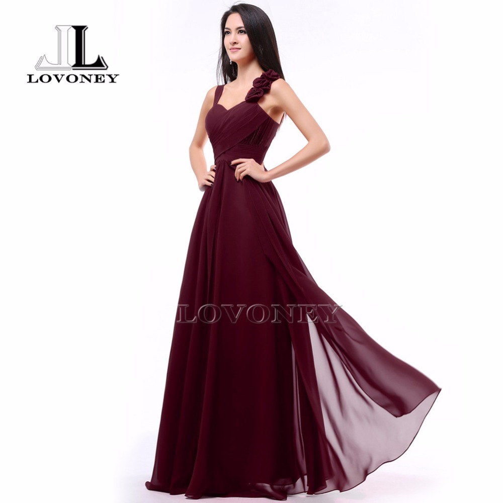 LOVONEY S323 Hot Sale Burgundy Prom Dresses 2019 Chiffon Long Formal Dress Evening Party Dresses Prom Gown Vestido De Festa-in Prom Dresses from Weddings & Events    1