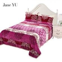 JaneYU Flannel Sheet Winter Thicken Warm Blanket Plus Velvet Fleece  28 colors