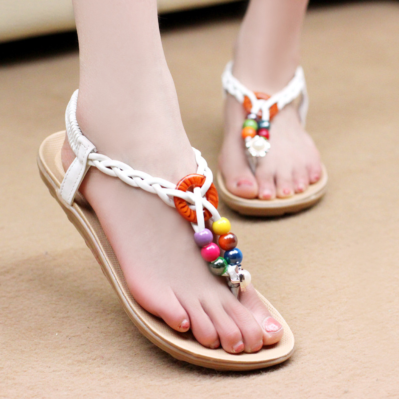 New Summer 2017 Women Sandals Fashion Summer Shoes Flats Sandals Beaded Beach Shoes Zapatos Mujer Sandalias women sandals summer fashion women shoes beach sandals ladies comfortable women summer shoes female flats sandalias mujer