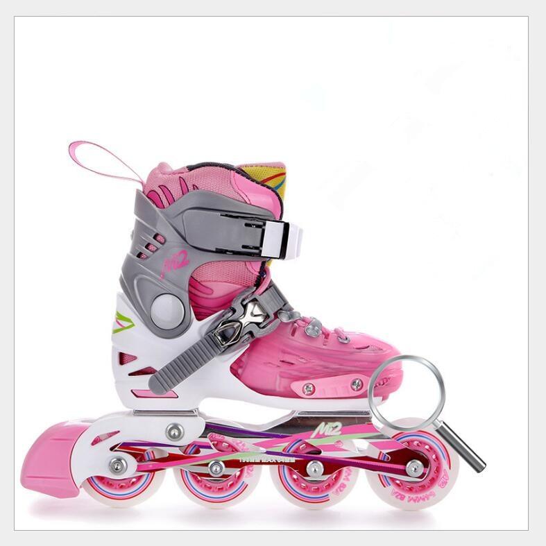 Prix pour Enfants Roller Skating Chaussures S/M/L Chaussures De Patins À Roulettes Réglable Route Coulissante/Slalom Patins À Roues Alignées Chaussures