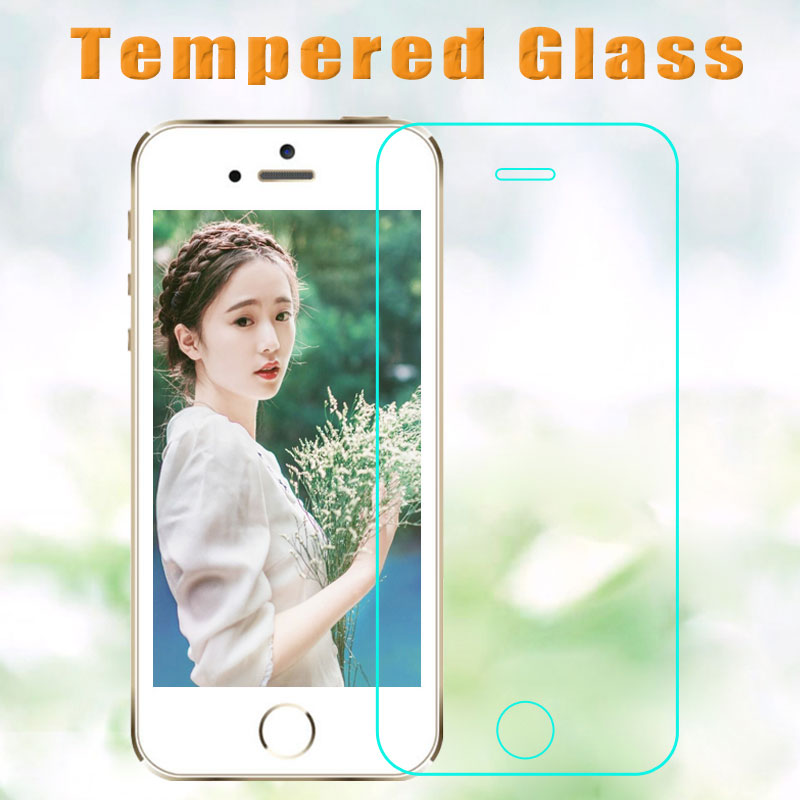 imágenes para Venta caliente para el iphone 5g/5c/5s 100 unids/lote alta transparencia vidrio templado film protector de pantalla