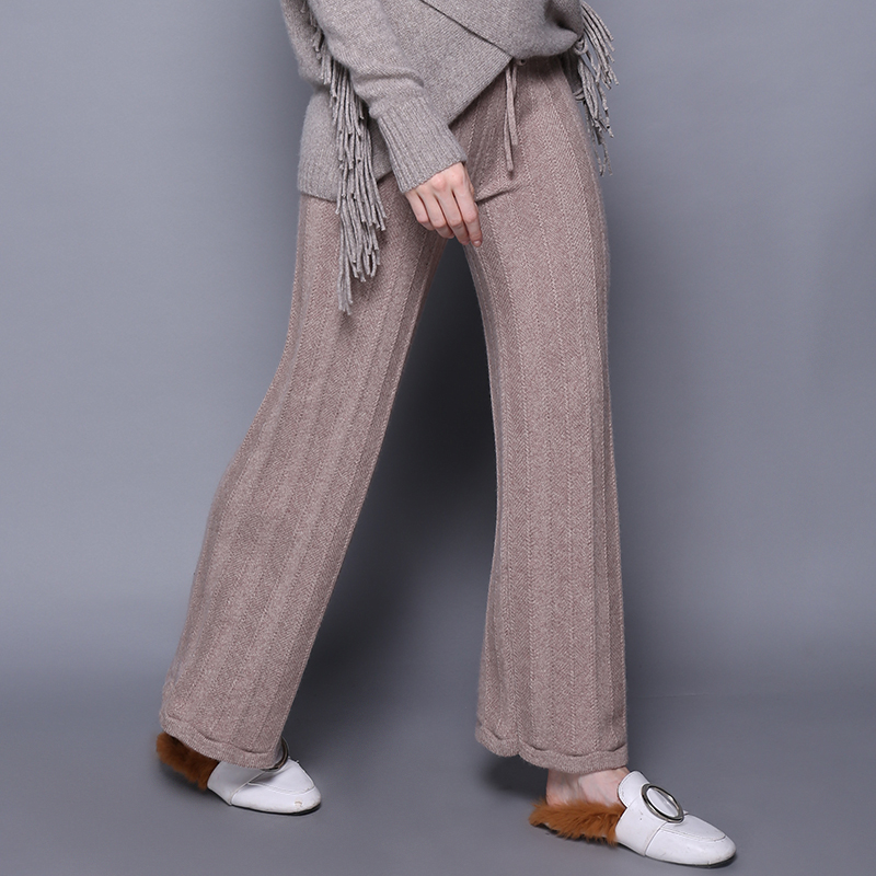 Autumn Winter 100 Pure Cashmere Wide Leg Pants Women Elastic High Waist Knitted Trousers With String