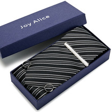 8cm Wide Black striped Classic Mens Neckties set  Fashion Party Man Tie, Handkerchief, Pin and Cufflinks Gift Box Packing