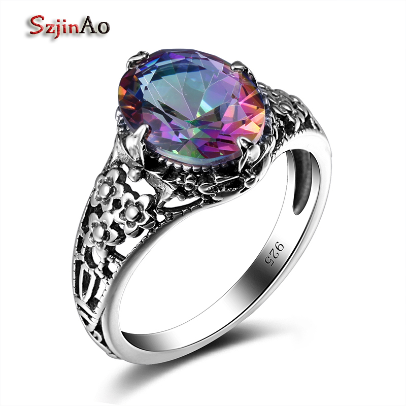 sterling rings mystic rainbow product silver jewelry natural products vintage image ring luxury topaz fire